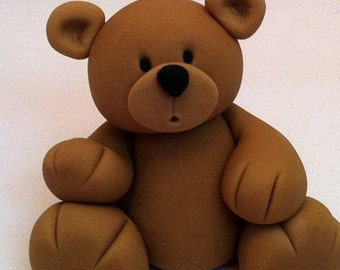 3.5 Fondant Teddy Bear Cake Topper Beautiful Cake Decoration Great cake idea for Christening and baby's first birthday
