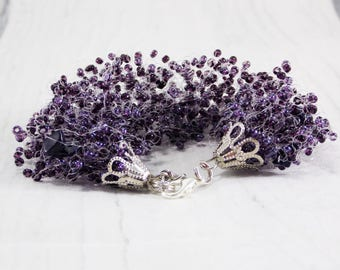 30th birthday gifts perfect gift for mum Dark purple bracelet bead bracelet bridesmaid bracelet purple jewelry purple weddings jewelry gift