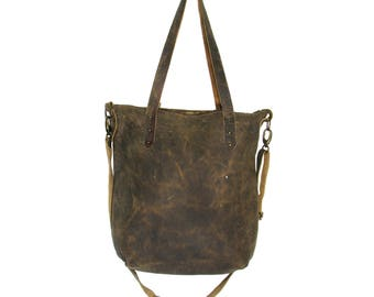 Handmade brown aged leather tote bag