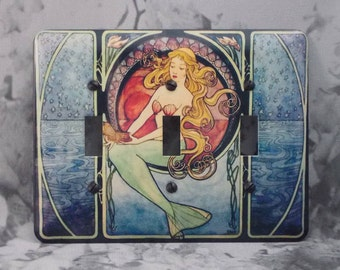 Metal Mermaid Triple Toggle Light Switch Covers - Mermaid Treasure - 3T 3 Toggle - 3T Mermaid