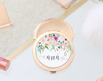 Gold Compact Mirror - Hanging Floral Watercolor Floral Personalized