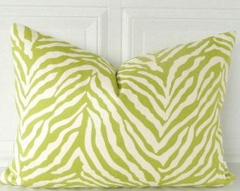 Green Zebra Pillow Cover - Zebra Lumbar Pillow - 12 x 16 Pillow - Zebra Accent Pillow - Zebra Throw Pillow - Green & Ivory Pillow