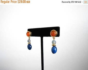 30% SALE - 80s vintage earrings - Liz Claiborne earrings navy blue orange gold earrings - 80s Clarity earrings