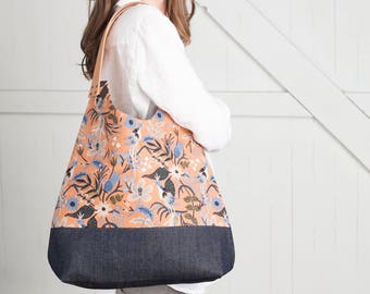 NEW! Meadow NW Tote, Floral Linen Convertible Hobo Tote Bag with Denim Bottom & Leather Handles