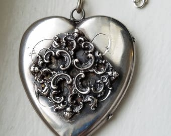 Huge Antique Sterling Silver Heart Locket, Repousse Cherub Personalized Initial Pendant,  Sweetheart Heirloom Locket, 28 Inches Chain