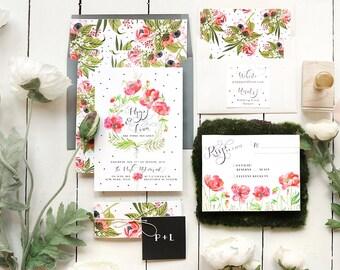 Floral Garden Wedding Invitations - Watercolor Wildflower Wedding Invitation Set - Rustic Boho Modern - Printable or Printed