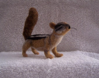 Hand felted life size wool chipmunk