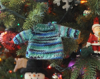 Blue Variegated Hand-Knit Sweater Ornament