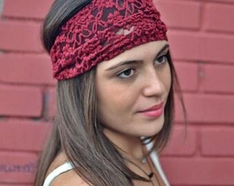 Lace Headband, Burgundy Headband, Bandana Headband, Elastic Headband, Fitness Headband, Vintage Headbands, Turban Headband, Womens Turban