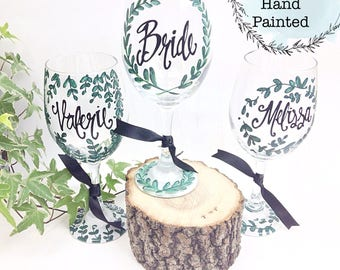 Free Shipping on 7 or more - Hand Painted Bride Maid of Honor Bridesmaid Wedding Shower Wine Glass - Greenery Design