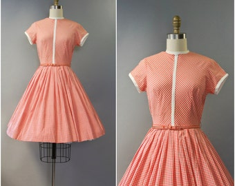 1950's orange gingham cotton dress • small