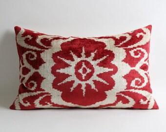 Luxurious red velvet ikat pillow cover Lumbar Uzbek Handwoven hand dyed