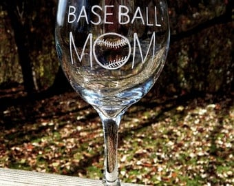 Proud Baseball Mom Hand Etched Wine Glass