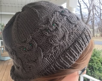 Knit Owl Cable Hat