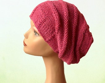 Slouch Beanie Hat / Knit Hat / Womens Hat / Behive Beanie / Slouchy Beanie / Hand Knit Hat / Knit Hat Women / Beehive Knit Hat