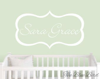 Name Wall Decal. Nursery wall decal for baby nursery. Framed custom name decal. Nursery Wall decal - Personalized name