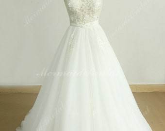 Ivory heavy beading lace wedding dress with illusion back and princess skirt