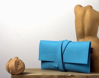 Turquoise clutch, turquoise pochette, felt clutch, felt pochette, azure felt clutch, womens gift, womens clutch, womens pochette.