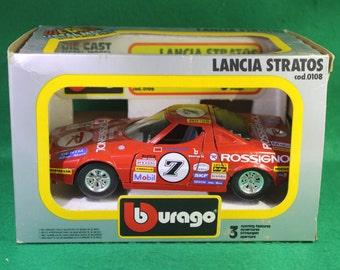 Vintage NOS Burago Die Cast 1/24 Scale Model Lancia Stratos - Retired