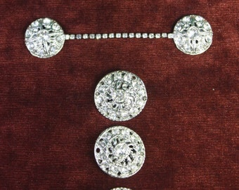 Vintage  (3)  1950 Bridal Rhinestone button with (2) sweater guard button sets