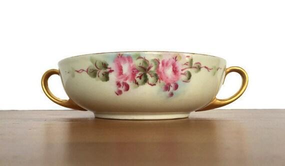 MZ Austria open sugar dish vintage hand painted porcelain bowl pink flowers