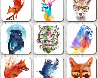 Colourful Exotic Animal Coasters by Robert Farkas, Single Coaster, Sets of 3, Sets of 4.