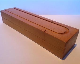 Classic 1950s Wooden School Pencil Box. Retro Pencil Case. Artists Box. School Accessories. Slide Top Pencil Box. Wooden Pencil Case.