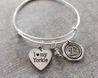 Yorkie, Yorkshire Terrier, Dog Lover,I love my, Puppy, Dog Mom, SIlver Bracelet, Charm Bracelet, Dog Gifts, Dog, Yorkie gifts, Yorkie mom