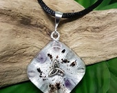 PROTECTION Orgone Pendant – Fluorite, Amethyst and Onyx – Protection, Grounding, Aura Balancing - Small