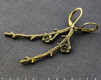 Earrings, cherry blossoms, branch, antique, bronze, vintage, japan, wedding, romantic, noble, boho, hippie, tree, blossoms, nostalgic