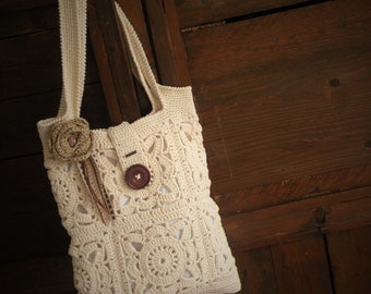 Rectangular boho chic bag with granny squares crochet. Cream boho chic bag, lined tote bag, chunky oversize. Crochet bag handmade. Vegan bag
