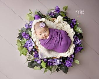 Flower Headband, Purple Headband, Purple Flower, Chiffon Flower Headband, Baby Headband, Newborn Headband, Photography Prop, Photo Props