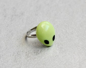 Alien Ring, Polymer Clay Ring, Space Jewelry