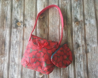 Bag with matching Purse in Strawberries