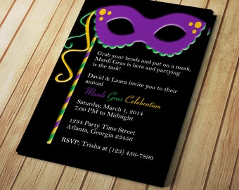 Mardi Gras Invitation - Editable Template - Microsoft Word Format