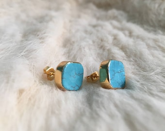 Turquoise Stone Stud Earrings Gold plated turquoise Earrings boho gemstone jewelry earrings jewelry turquoise boho gold Stud Minimalist gold