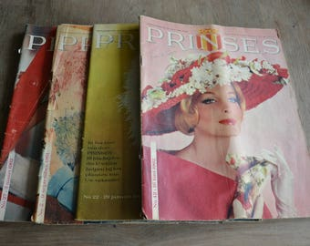 """Set of 4 vintage lady's magazines """"Prinses"""" (language is Dutch) from 1960's"""