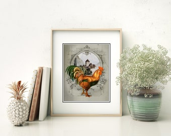 French Chateau Rooster Gray III - Art Print, French Country Farmhouse Kitchen Decor, Dining Room Art, French Roosters Art, Rooster Kitchen