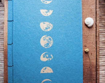 Moon journal, gold lunar phases notebook, moon bohemian diary