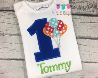 Baby Boy Birthday Outfit - 1st Birthday Balloon Birthday Outfit - 1st Birthday Shirt - Boy first birthday outfit