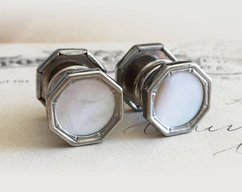 1920s Art Deco Snap Link Cufflinks / Mother of Pearl Octagon Snaplinks for Business Tuxedo Groom Wedding / Gift for Dad / Gift for Men