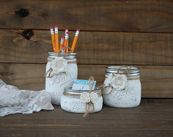 Desk Set Dorm Decor Mason Jar White Shabby Chic Accessories