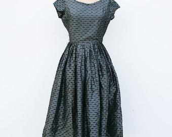 1950s vintage opulent black party dress
