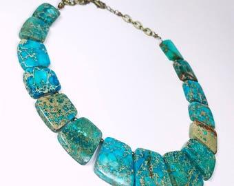 Bib Necklace, Impression Jasper Necklace, Sea Sediment Jasper, Statement Necklace, Blue Jewellery, Blue Necklace, OOAK