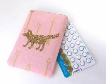 Pill Case Birth Control Pill Sleeve - Fox in vinyl