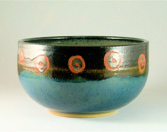 Wheel-Thrown Pottery Bowl - Glossy Teal Blue, Black with Red Spots / Pottery Serving Bowl / Pottery Fruit Bowl with Red Spots