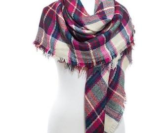 Blanket Scarf Tartan Plaid Square So Soft Cozy Man Woman Winter Accessory Women Men Fashion Scarves Christmas Gift Idea For Her Him