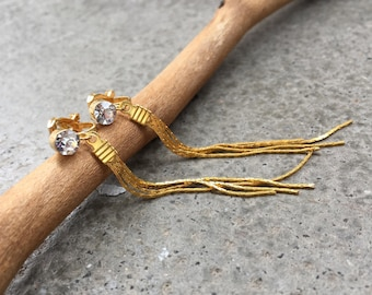 Earrings with dangling rhinestone tassel CLIPS color Golden, for non pierced ears