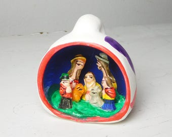Small Southwest Pueblo Style Nativity Scene Ceramic Pottery Carved Vintage Christmas Decor
