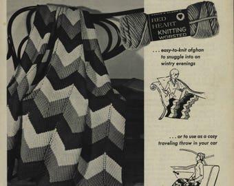 Chevron Design Afghan Knit  Pattern PDF  Instant Download